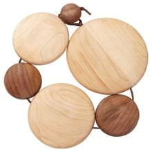 See Details - Kuhn Rikon Maple and Black Walnut Wood Expandable Coiled Wooden Trivet with Leather Cord