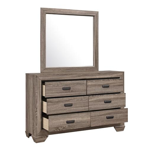 Crown Mark - Farrow Gray 6-Drawer Dresser and Mirror Set