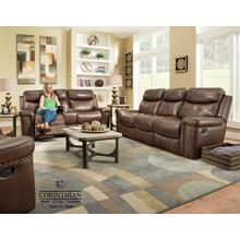 Corinthian Softie Driftwood Leather Reclining Sofa and Loveseat with Console