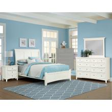 King White 4 PC Bedroom Set - Sleigh Bed