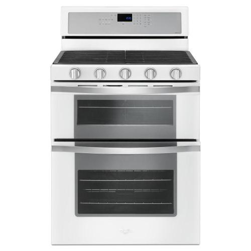 "Whirlpool 30"" 6.0CF White Ice Double Oven Gas Range with Center Oval Burner"