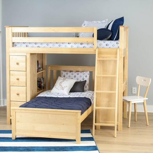 Maxtrix - Jackpot Kensington All in One Loft Bed Storage Study Twin Bed In Natural Finish