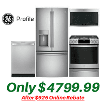GE Profile Kitchen Suite with New Air Fry Convection Slide-in Gas Stove and New Non-Fingerprint Stainless Steel Refrigerator