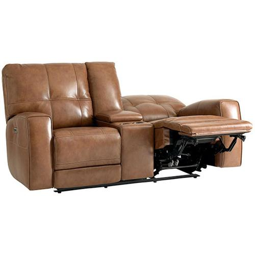 Conway Motion Loveseat w/ Power & Console in Almond