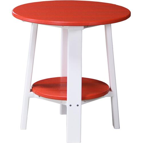 Deluxe End Table Red and White