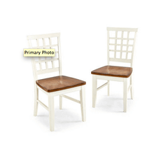 Arlington Lattice Back Side Chair White and Java