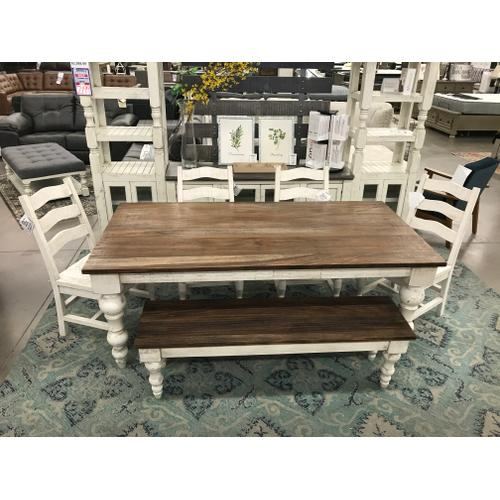 Rock Valley Table, 4 Wood Seat Chairs, Bench