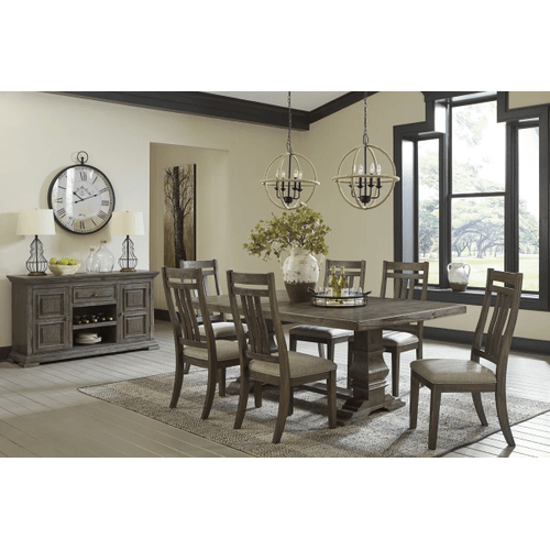 Wyndahl - Rustic Brown - 7 Pc.  Rectangular Extension Table & 6 Upholsterd Side Chairs