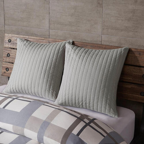 Ollix - Camila Grey Quilted Euro Sham