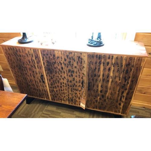 Burnt wood & metal sideboard.