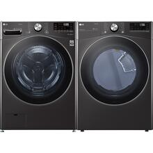 LG Black Steel Side-by-Side Washer & Dryer Set
