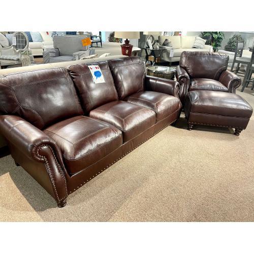 Simon Li Furniture - Stallion Burgundy Leather Sofa, Chair & Ottoman