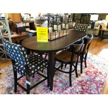 "BASSETT BENCH MADE 7 PIECE DINING SET(78"" COUNTER HEIGHT TBL, 2 UPH COUNTER STOOLS & 4 COUNTER STOOLS)"
