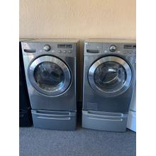 Refurbished Grey LG Washer Dryer Set On Pedestals. Please call store if you would like additional pictures. This set carries our 6 month warranty, MANUFACTURER WARRANTY AND REBATES ARE NOT VALID (Sold only as a set)
