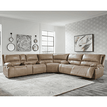 Ricmen - Putty - 2 Seat Power Reclining Sofa, Wedge & Power Reclining Loveseat with Adjustable Headrest Sectional