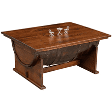Amish Half Barrel Coffee Table with Lift Top