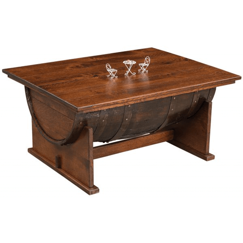 Amish Furniture - Amish Half Barrel Coffee Table with Lift Top