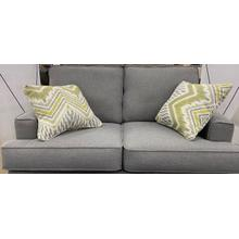 Wood House Love Seat - Bayside Grey - 2 Pillows Longshore Moonstone