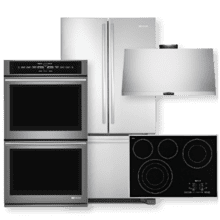 French Door Refrigerator, Double Wall Oven, Electric Cooktop & Hood Package- Open Box