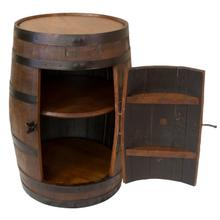 AR371 Red Oak Whiskey Barrel Cabinet with Lazy Susan