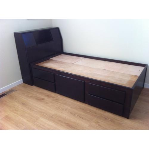 """Contemporary Style Double High Twin Chestbed with 12"""" Slant Headboard"""
