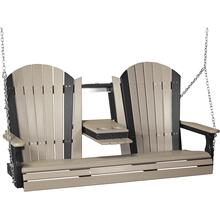 Adirondack Swing 5' Weatherwood and Black