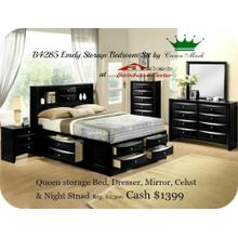 Crown Mark B4285 Emily Black Storage Bedroom Set Houston Texas USA Aztec Furniture