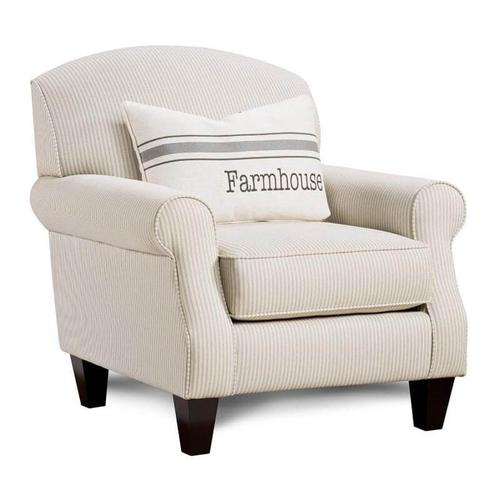 Accent Chair in Ticking Slate Fabric with Farmhouse Pillow
