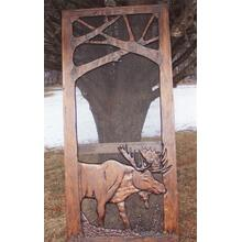 Handmade rustic wooden screen door featuring a moose.