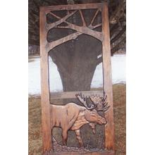 See Details - Handmade rustic wooden screen door featuring a moose.