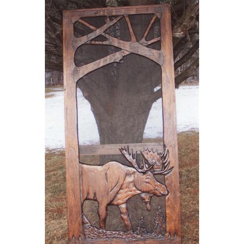 Handmade rustic wooden screen door featuring a moose.
