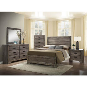 Nathan Rustic Full Size Bed - Weathered Gray