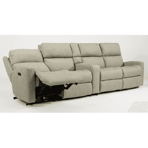 Flexsteel - Catalina Leather Reclining Console Theater Seating