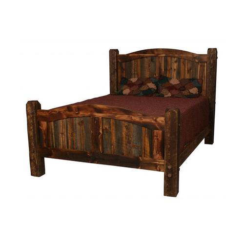 House Lodge Collection - Natural Barn Wood Prairie Bed Dark Panels