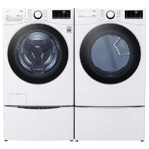 LG Ultra Large Capacity Smart wi-fi Enabled 4.5 cu. ft. Front Load Washer & 7.4 cu. ft. Electric Dryer w/ Pedestals- White