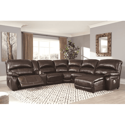 Hallstrung - Chocolate - 1 Power Recliner 1 Manual Recliner 1 Power Chaise Leather Sectional with Console