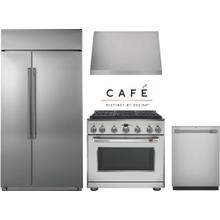 """Cafe 36"""" Professional Dual Fuel Range Kitchen with Built In Refrigerator"""