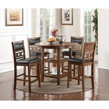 Gia Pub Dining Room Set: Table and Four Chairs, Brown