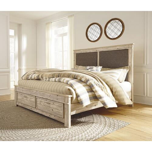 King Upholstered Panel Bed w/ Footboard Storage