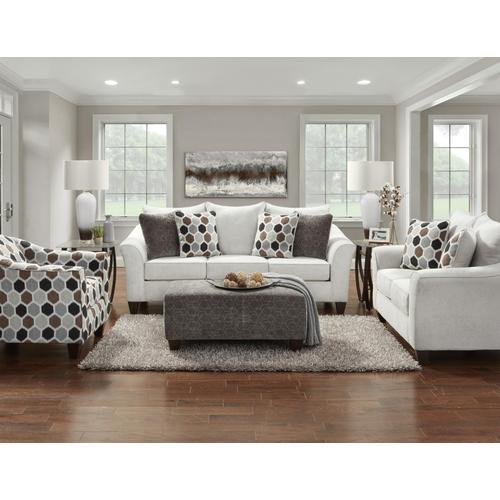 Anna Silver 4PC Set: Sofa, Loveseat, Chair & Ottoman (7700)