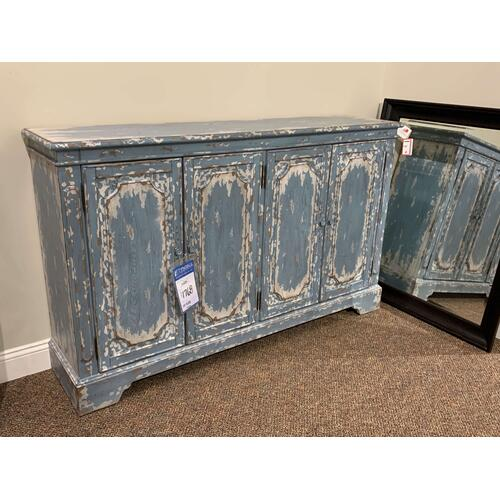 Vintage Style Distressed Blue Console Table, Media Center, or Buffet Cabinet