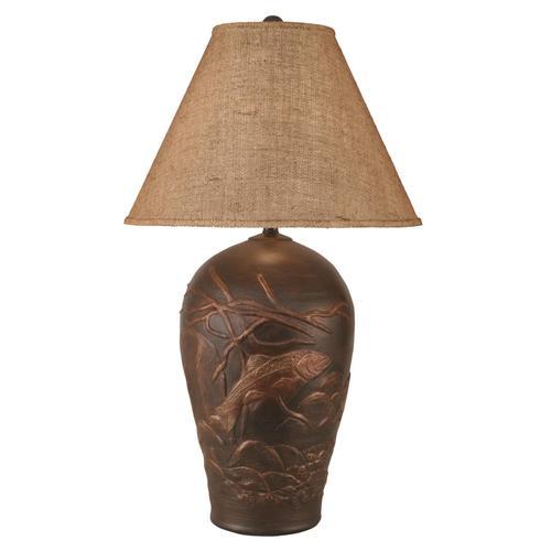 Bronze Trout Scene Table Lamp