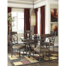 Glambrey - Brown - 5 Pc. - Round Table & 4 Upholstered Side Chairs