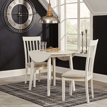 Slannery - White - 3 Pc. - Drop Leaf Table & 2 Side Chairs