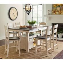 Madison County 5 Piece Dining Room Set: Bar Height Table & 4 Stools, White