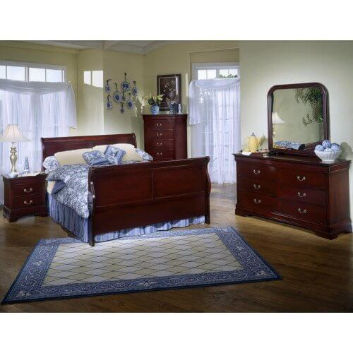 Lifestyle - 8Pc. CHERRY SLEIGH BEDROOM GROUP