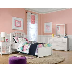 Twin Finley Arch Spindle Bed - White