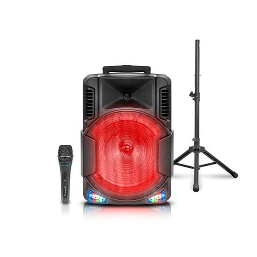 PL1565W Bluetooth Rechargeable Speaker with Tripod and Wireless Microphone