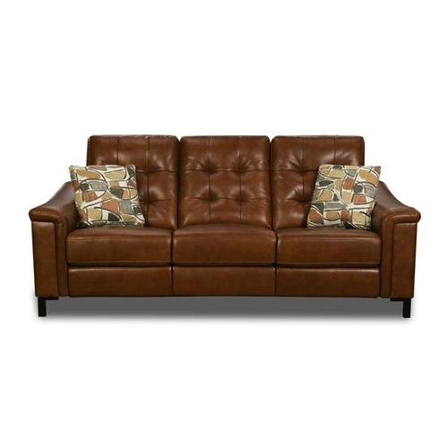 Young Chestnut Leather Power Reclining Sofa & Loveseat