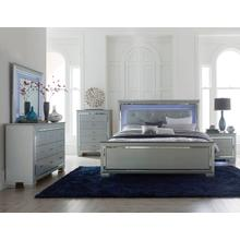Allura- Silver Qn Bed, Dresser, Mirror and Nightstand